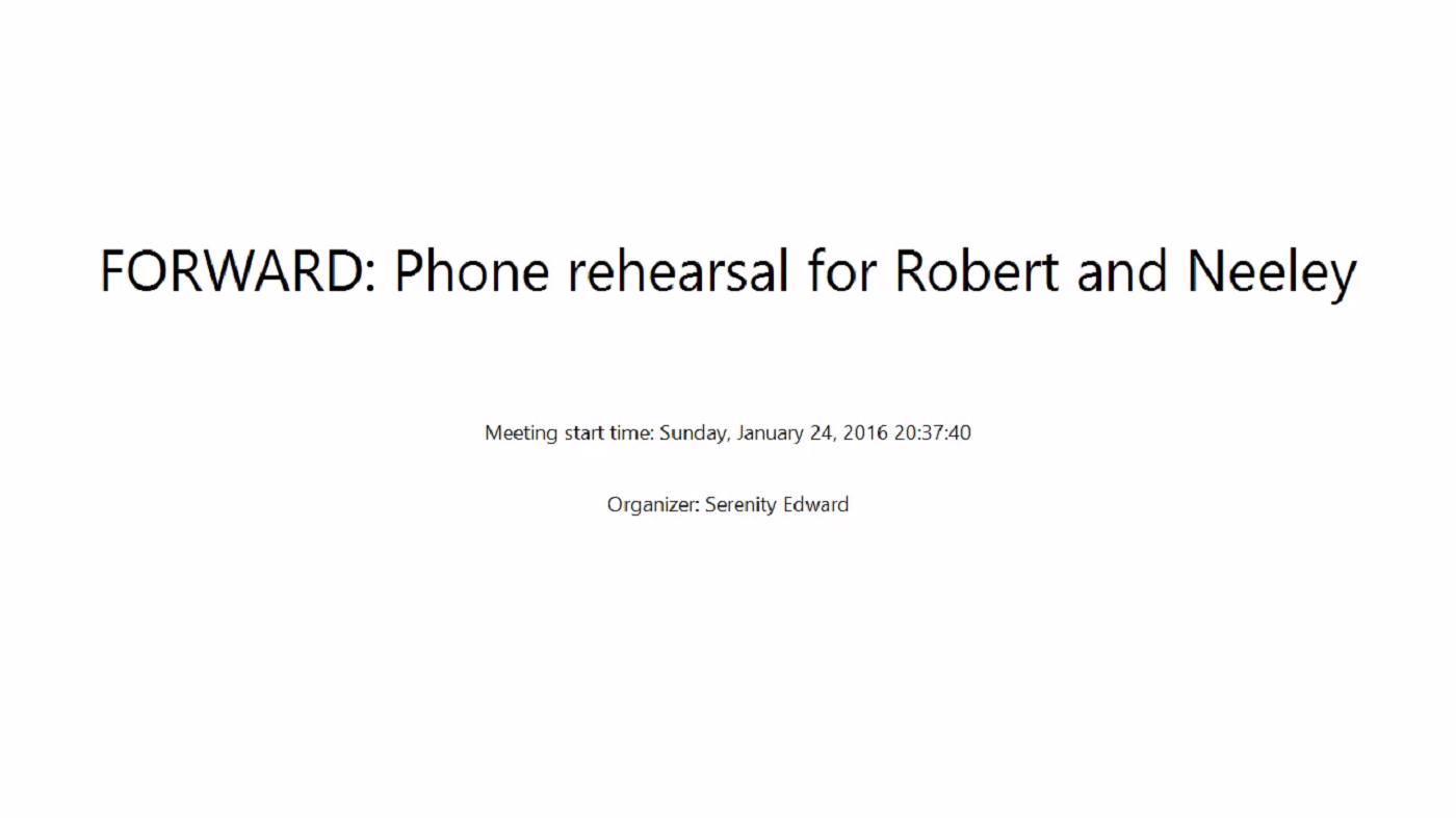 FORWARD Rehearsal for Robert and Neeley – 2016-01-24 20:37:40